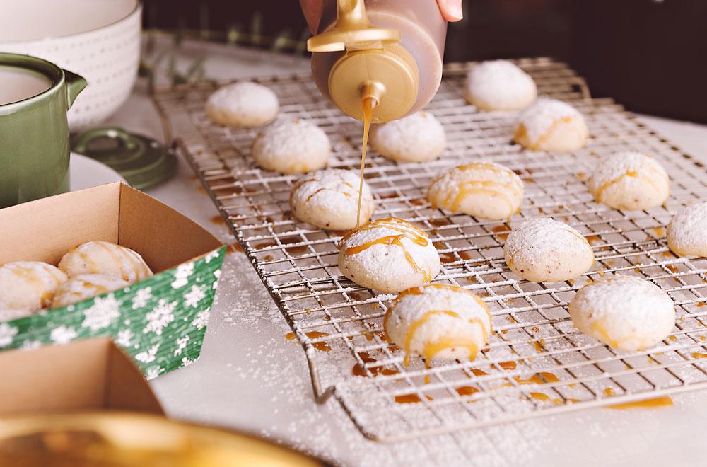 Caramel Almond Snowball Cookies